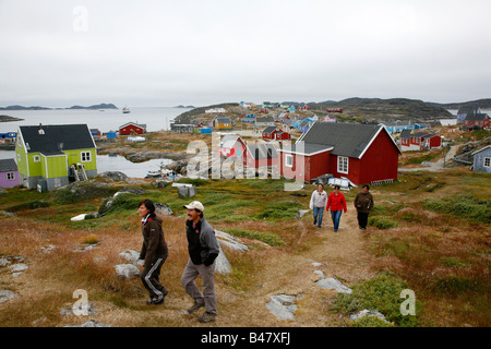 Aug 2008 - View over the small village of Itilleq Greenland - Stock Photo