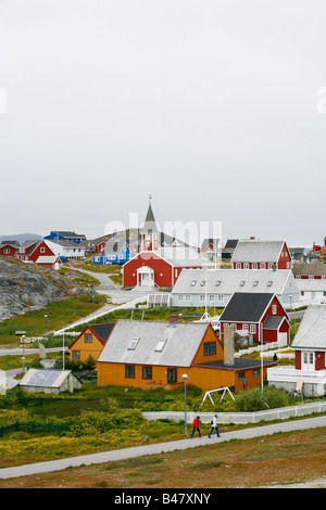 Aug 2008 - View over houses and the Frelsers Kirke Our Saviour Church in the Kolonihavn Nuuk Greenland - Stock Photo