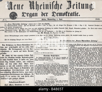 press/media, journals/magazines, 'Neue Rheinische Zeitung', number 1, Cologne, 1.6.1848, title, , Additional-Rights - Stock Photo