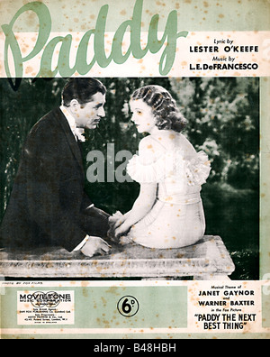 Paddy music sheet cover for the title song of the 1933 movie Paddy The Next Best Thing - Stock Photo