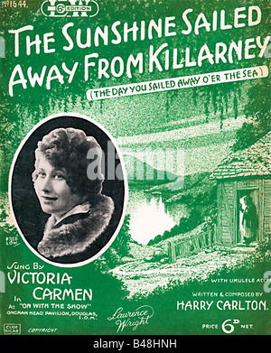 The Sunshine Sailed Away From Killarney music sheet cover for a song sung by Victoria Carlton in a stage show - Stock Photo