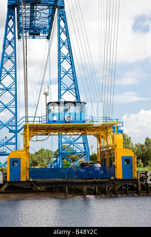 The gondola car carrier over the River Tees Middlesbrough Transporter Bridge Tees Valley - Stock Photo