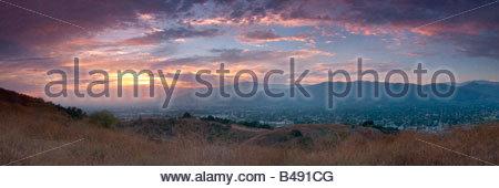 San Gabriel Valley Sunset Panoramic Glendora California - Stock Photo