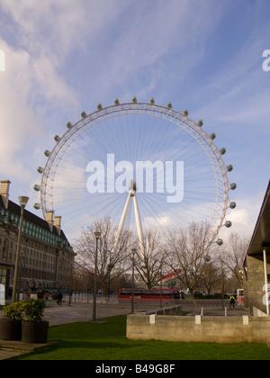 British Airways London Eye ferris wheel on southbank of River thames London England - Stock Photo