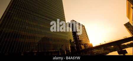 Sunset in Canary Wharf, London. - Stock Photo
