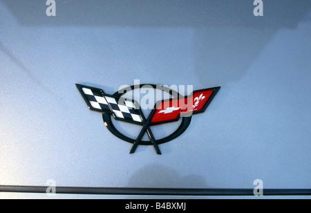 Car, Chevrolet Corvette Convertible, model year 1998-, silver, Detailed view, Company logo - Stock Photo