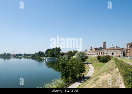 View of the city from the Lago Inferiore with the Palazzo Ducale in the background, Mantua (Mantova), Lombardy, - Stock Photo