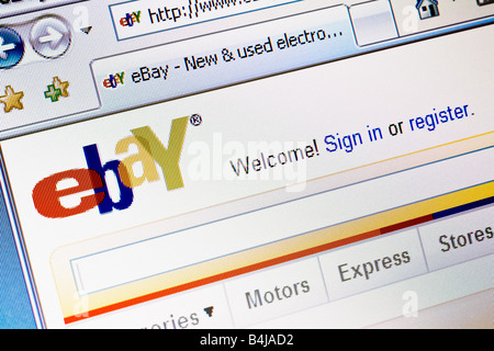 Ebay website splash screen and logo showing welcome message - Stock Photo
