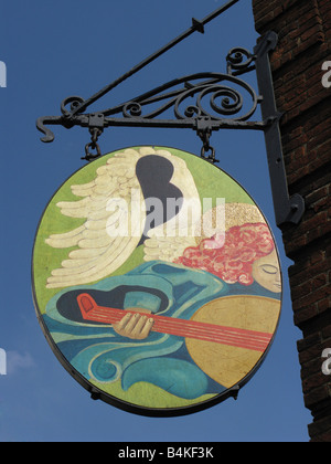 The Angel Inn - Pub Sign in Highgate Village, London - Stock Photo