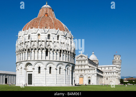 The Baptistry, Duomo and Leaning Tower, Piazza dei Miracoli, Pisa, Tuscany, Italy - Stock Photo