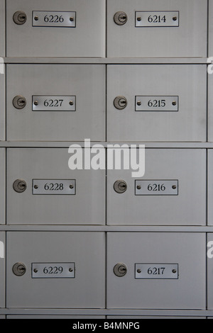Detail shot of brushed metal postbox doors in a US post office, with the numbers of the boxes on metal plaques beside - Stock Photo