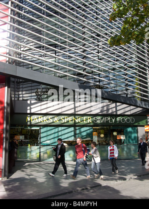 Marks and Spencer's shop front, unusually lit, in the More London development, London. - Stock Photo