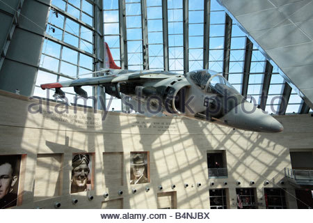 Harrier jump jet at the National Museum of the Marine Corps in Virginia. - Stock Photo