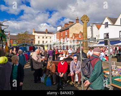 Market stalls street scene in the Market Place at Knaresborough, North Yorkshire, England, UK - Stock Photo