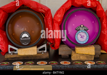 Beer barrells in beer tent at Abergavenny Food Festival - Stock Photo