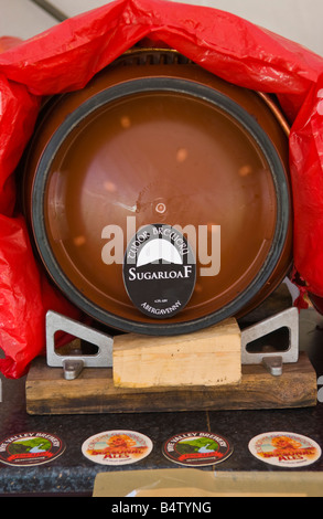 Beer barrels in beer tent at Abergavenny Food Festival - Stock Photo
