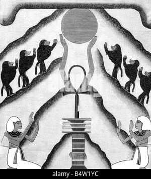 astronomy, sun, sunrice, wood engraving after ancient Egyptian mural painting, 'Im Reiche des Lichts' by Herman - Stock Photo