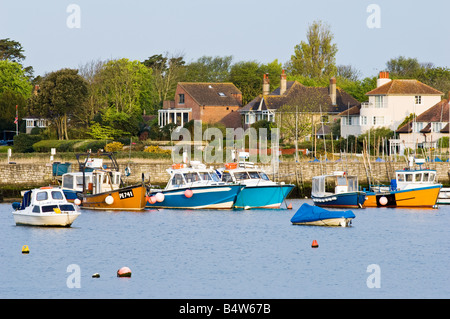 Colourful fishing boats in the harbour at Keyhaven, in the New Forest National Park - Stock Photo