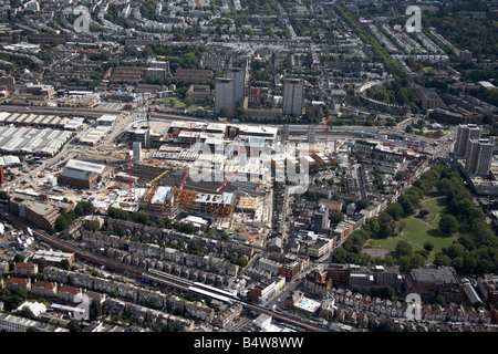Aerial view north east of Westfield White City Development Construction Site West Cross Route suburban houses tower - Stock Photo