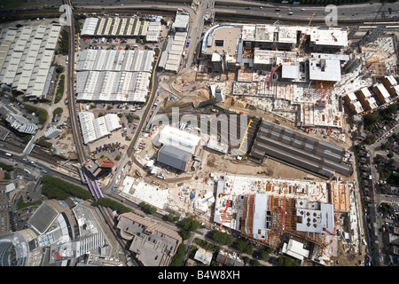 Aerial view north east of Westfield White City Development Construction Site West Cross Route Wood Lane London W12 - Stock Photo
