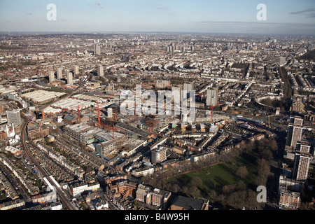 Aerial view north east of Westfield White City Development Construction Site Shepherd s Bush Common tower blocks - Stock Photo