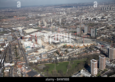 Aerial view north east of Westfield White City Development Construction Site Shepherd s Bush Common London W12 UK - Stock Photo