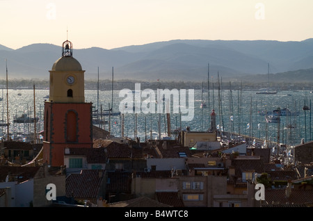 View over St Tropez and the Golfe de St Tropez - Stock Photo