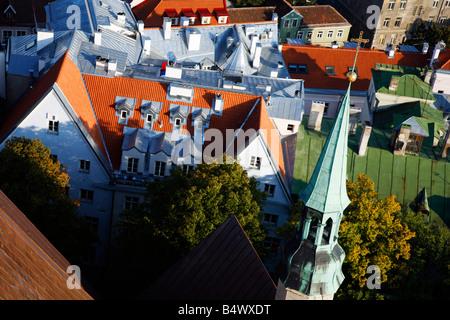looking down view, Tallinn, Estonia - Stock Photo