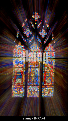 Zoom burst of a stained glass window in the Washington National Cathedral in Washington, DC. - Stock Photo