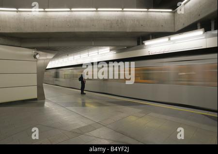 Vienna Subway Line U2 Taborstraße - Stock Photo