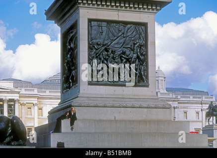 Bronze frieze depicting Admiral Lord Nelson's death at the Battle of Trafalgar in 1805, base of Nelson's Column, - Stock Photo