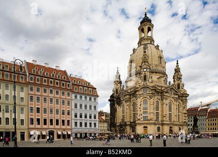 Dresden, Frauenkirche, Neumarkt mit Frauenkirche von Südwesten - Stock Photo