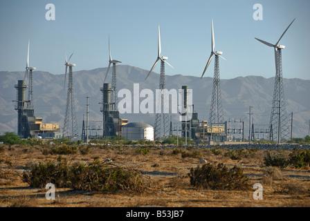 Wind turbines Turbine farm field North Palm Springs CA San Gorgonio Coachella Valley between the San Bernardino - Stock Photo