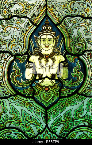 Stained glass window in Wat Benchamabophit temple, Bangkok, Thailand - Stock Photo
