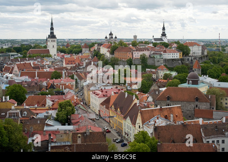General view of Tallinn old town from the steeple of St. Olav's church, Tallinn, Estonia.  Toompea Hill is clearly - Stock Photo