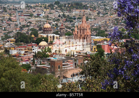 View from the Mirador over La Parroquia church, San Miguel de Allende (San Miguel), Guanajuato State, Mexico, North - Stock Photo
