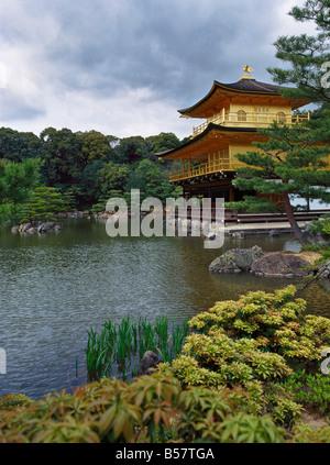 Kinkaku-ji Temple (Rokuon-ji) (Golden Pavilion), Kyoto, Japan, Asia - Stock Photo