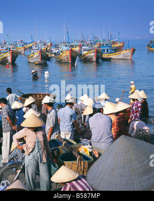 Fishing village people collecting the morning catch from fishing boat fleet, Mui Ne, south-central coast, Vietnam, - Stock Photo