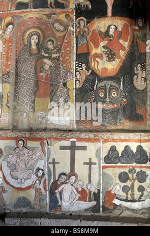 Paintings depict scenes from the Bible, on the inner sanctuary of the monastery of Kebran Gabriel, on Lake Tana, - Stock Photo