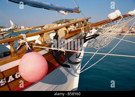 Prow of tour boat in harbour Split Dalmatia Croatia Europe - Stock Photo