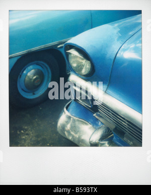 Polaroid of classic blue American car Havana Cuba West Indies Central America - Stock Photo