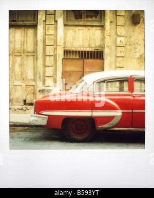 Polaroid of the profile of red classic American car Havana Cuba West Indies Central America - Stock Photo