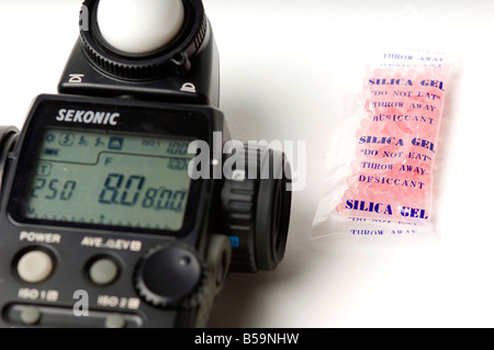 Silica gel is commonly packaged with sensitive electronics. - Stock Photo