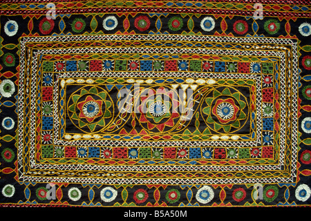 Close-up of Rajasthani embroidery, Rajasthan state, India - Stock Photo