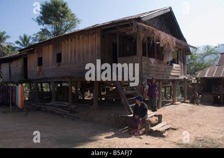 Had Tur, a Lao Lua village, near Pakbang, North Laos, Indochina, Southeast Asia - Stock Photo