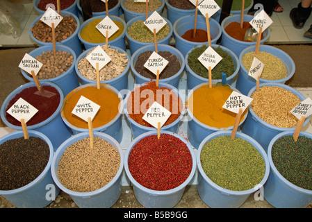 Spices for sale in the market, Kas, Anatolia, Turkey Minor, Eurasia - Stock Photo
