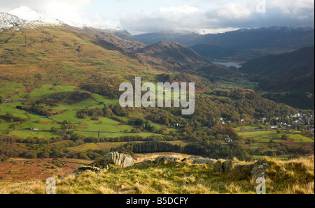 Snowdon and Llyn Dinasunder a Stormy Sky from Moel Hebog, Snowdonia , Wales, with Snow - Stock Photo