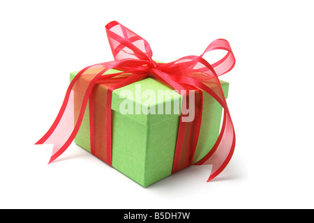 Green Gift Box with Red Bow - Stock Photo