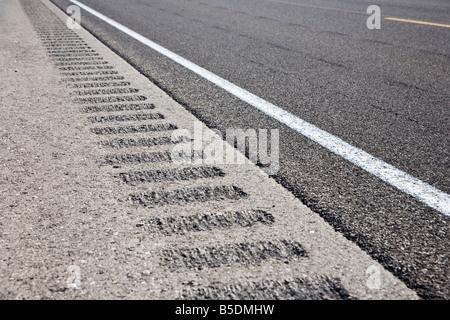 Roadway shoulder rumble strips, USA - Stock Photo
