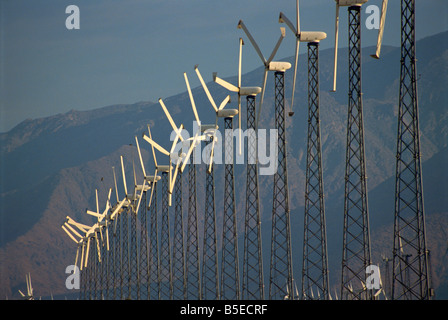 Windmills generating electricity near Palm Springs California United States of America North America - Stock Photo